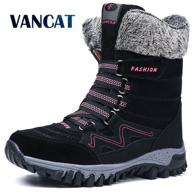 2019 Brand New Fashion Suede Leather Women Snow Boots Winter Warm Plush Women's boots Waterproof Ankle Boots Flat shoes 36 42