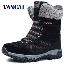 2019 Brand New Fashion Suede Leather Women Snow Boots Winter Warm Plush Women's boots Waterproof Ankle Boots Flat shoes 36-42