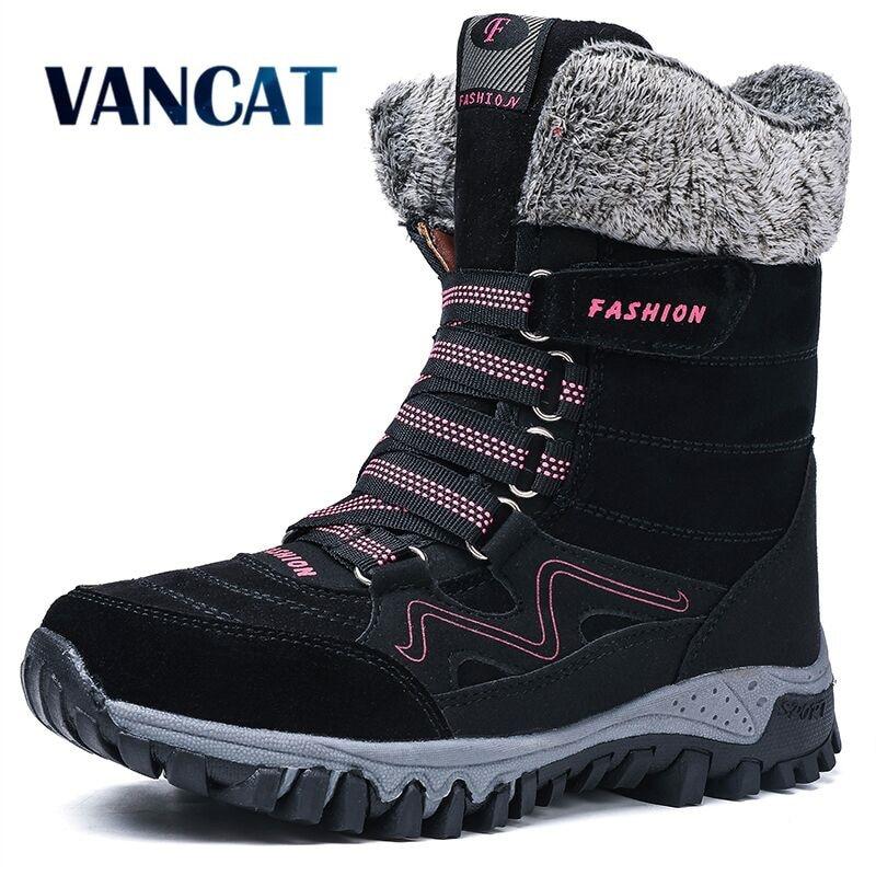 2019 новые модные замшевые кожаные женские сапоги для снежной погоды зимние теплые плюшевые женские Сапоги водонепроницаемые ботильоны обувь на плоской подошве 36 42|Зимние сапоги| | АлиЭкспресс