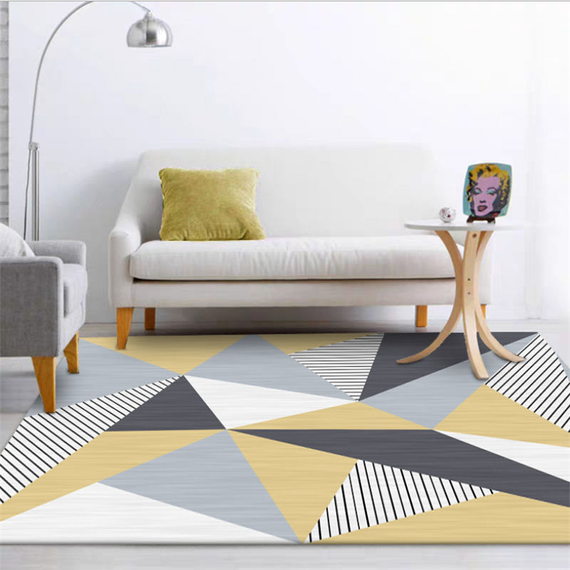 Rugs And Carpets For Home Living Room Nordic Yellow Striped Diamond Pattern Non-slip Carpet Bedroom Rug Christmas Rug Hand Wash