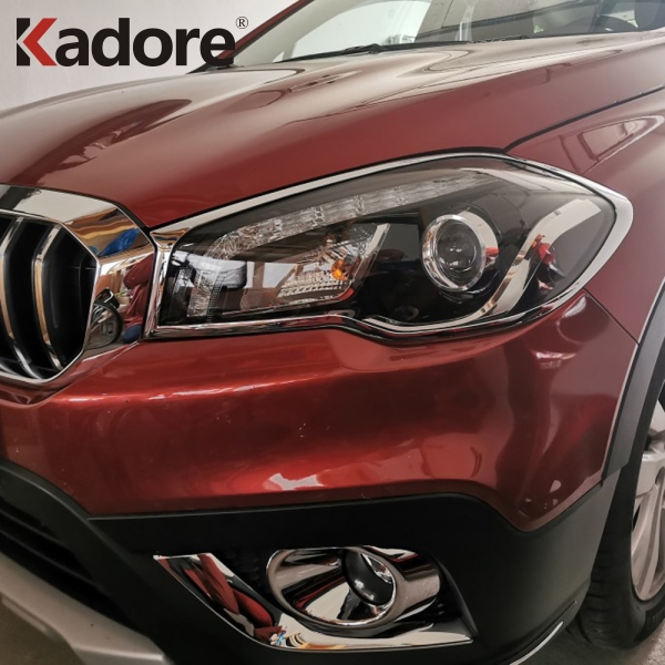 For <font><b>Suzuki</b></font> S-cross scross facelift <font><b>SX4</b></font> 2017 <font><b>2018</b></font> Front Head Light Lamp Detector Frame Stick Styling Chrome Cover trim Parts image
