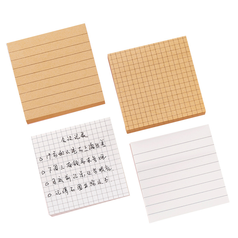 Mini Memo Pad Brown White Color Paper Functional Blank Line Grid Adhesive Note For Book Notepad Stickers Office School F918