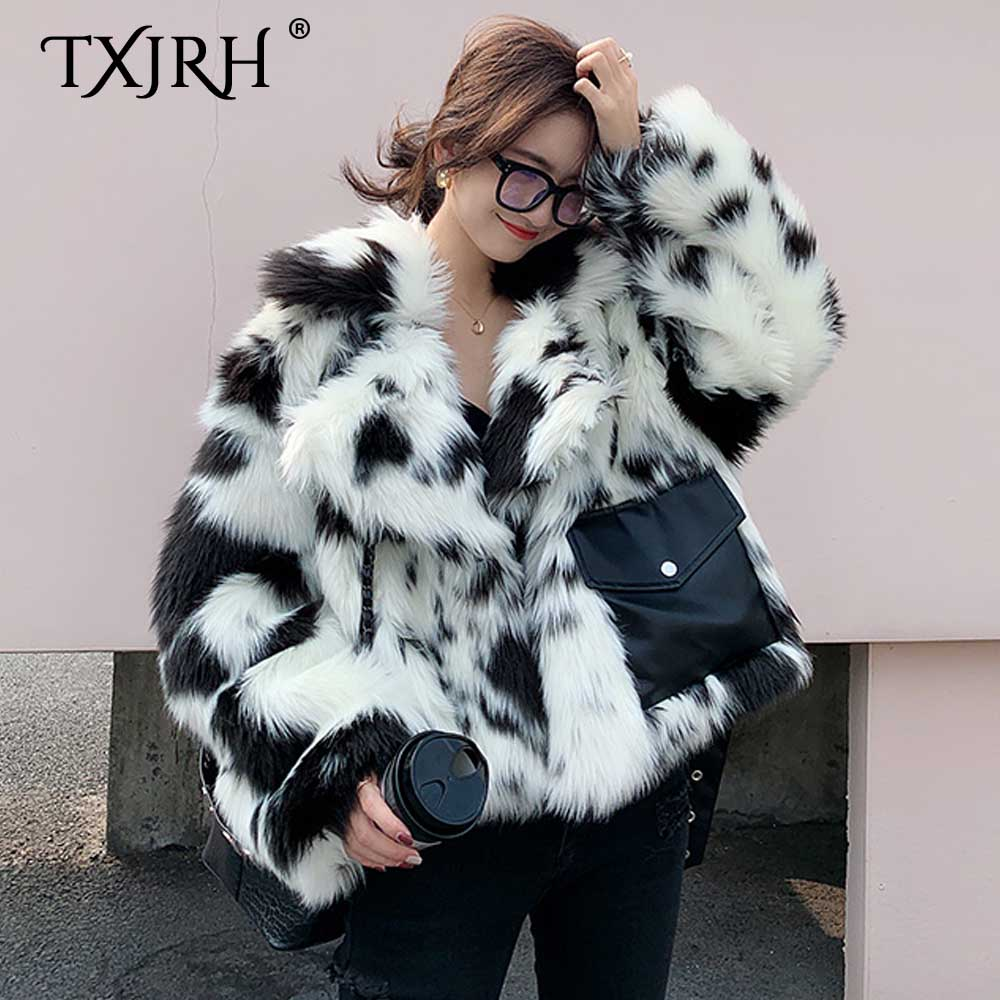 TXJRH Korea Milk Cow Hairy Shaggy Faux Fox Fur Pockets Splice PU Adjustable Belt Jacket Coat Women Lapel Keep Warm Outerwear Top