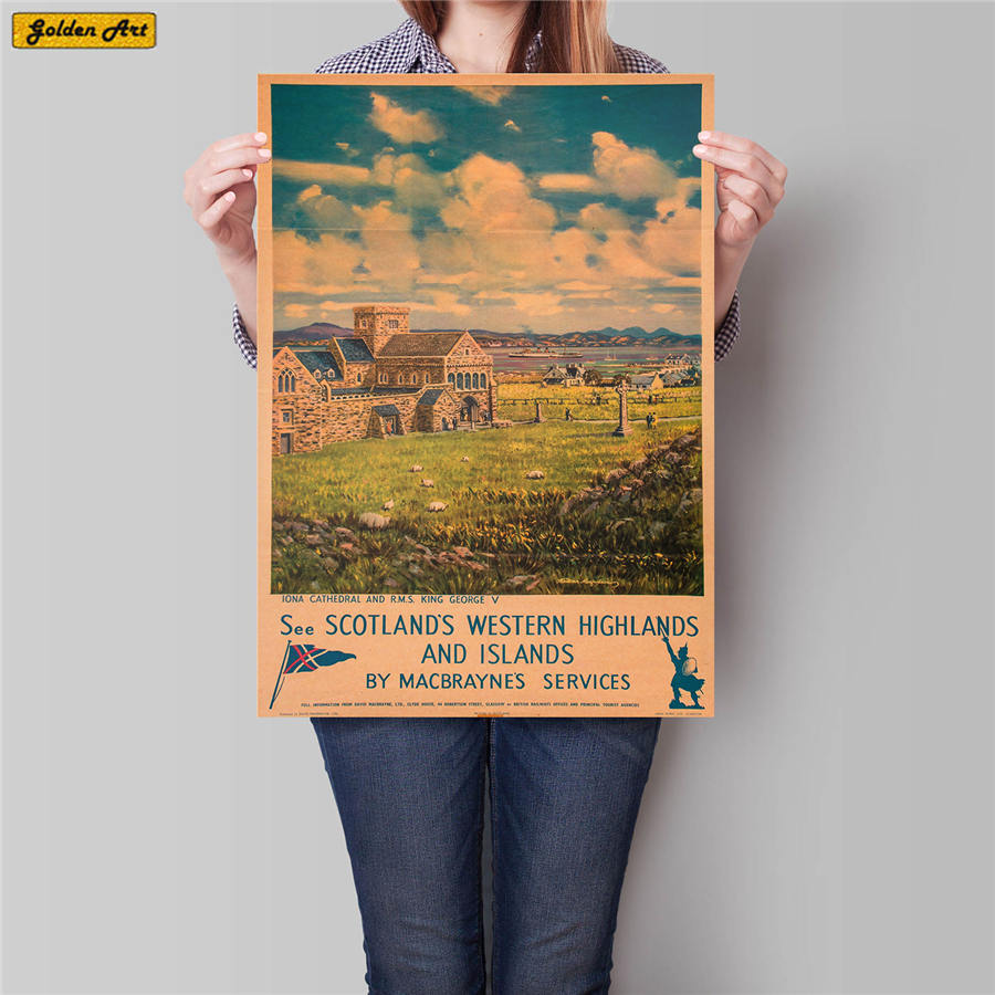 Scotland City Travel Poster Hand Painted Tourist Attractions Vintage Kraft Paper Pub Cafe Bedroom Home Decor Wall Sticker42x30cm
