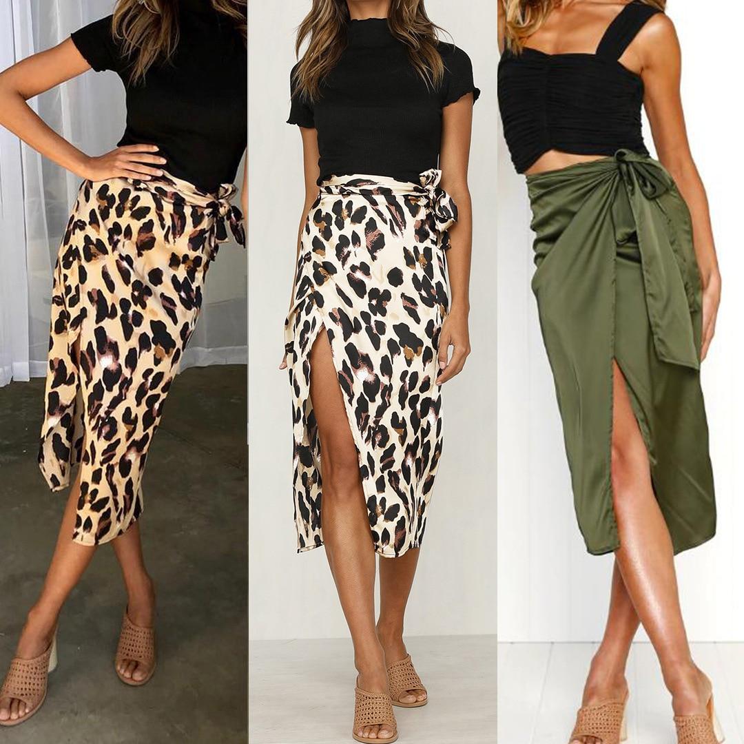 Skirts Women Fall 2019 New Chiffon Leopard Print Maxi Skirt High Waisted Bandage Long Skirts Sexy Split Bandage Skirt Streetwear