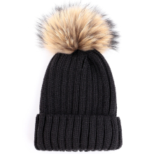 2019 new pom poms winter hat for women girl s knitted beanies cap brand thick female mink and fox fur ball