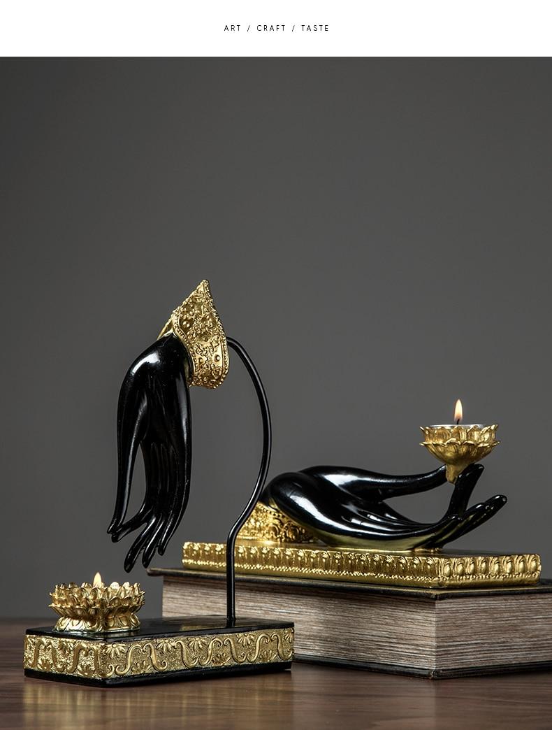Castiçal budista postura resina escultura budista fé castiçal decorativo