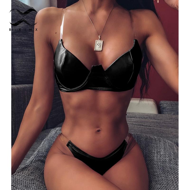 High Cut Swimwear Women Push Up Bathing Suit Woman Swimsuit Female PU Leather Summer Bathers 2020 New Bikini Set Sexy Biquini