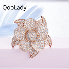 QooLady Luxury Cubic Zirconia Stone Micro Pave Big Flower Rose Gold Color High Quality CZ Party Rings Jewelry  for Women F010 цена