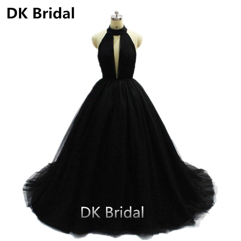 Sexy noir Tulle longues robes de bal 2019 nouveauté dos nu Court Train une ligne Occasion spéciale robes de soirée sur mesure