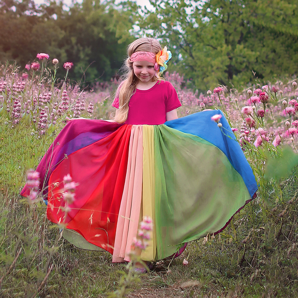 40# Dress Kids Girls Short Sleeve Rainbow Stitching Dress Dress Princess Dress Birthday Party Dresses Kids Clothes Girls 1