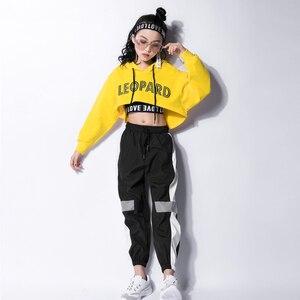 2020 trajes de baile de Jazz Hip Hop niños de manga larga con capucha Top chaleco pantalones niñas Hiphop ropa baile callejero desgaste de espectáculo F357