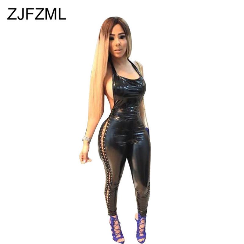 Side Slit Lace Up Hollow Out PU Leather Romper Women Halter  Backless Bodycon Jumpsuits Sexy Clubwear One Piece Black Overalls