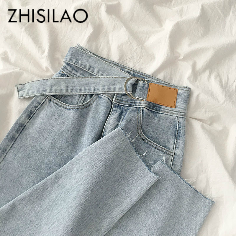 Straight Jeans Women Plus Size Vintage Loose Wide Leg Denim Pants Boyfriend Mom High Waist Summer Jeans 2020 Retro Blue