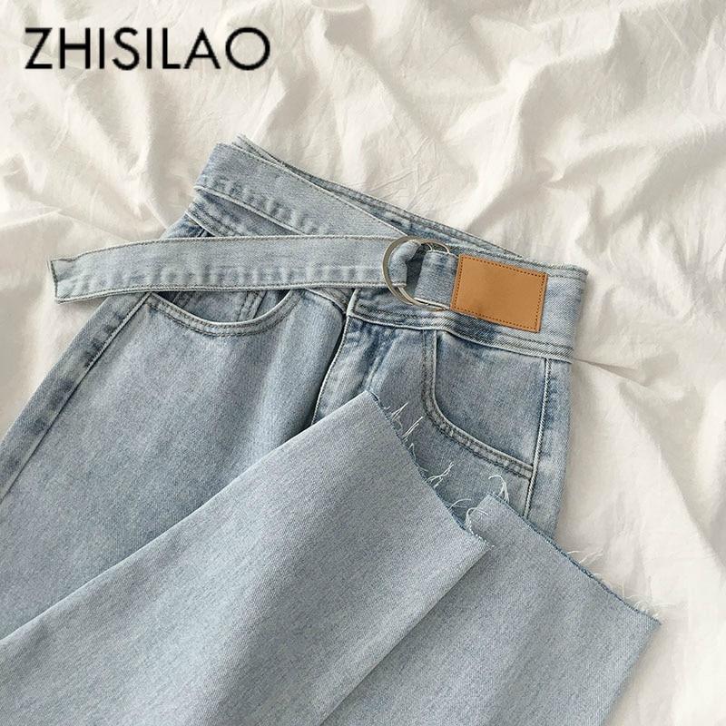 Straight Jeans Women Plus Size Vintage Loose Wide Leg Denim Pants Boyfriend Mom High Waist Summer Jeans 2020 Retro Blue