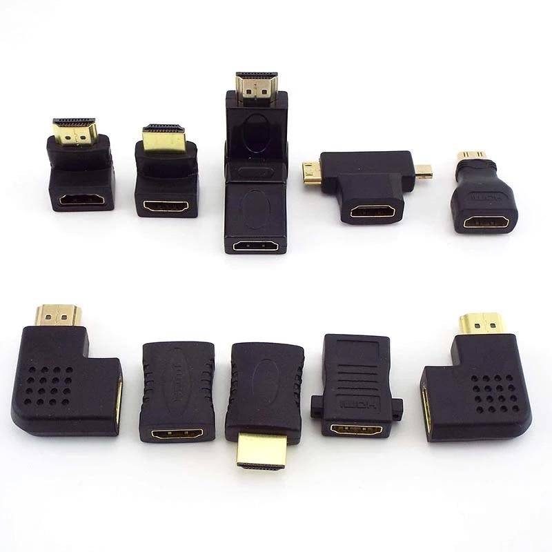 mini micro adaptador extensor cabo portátil 1080p 4k hdtv 90 180 270 360 graus