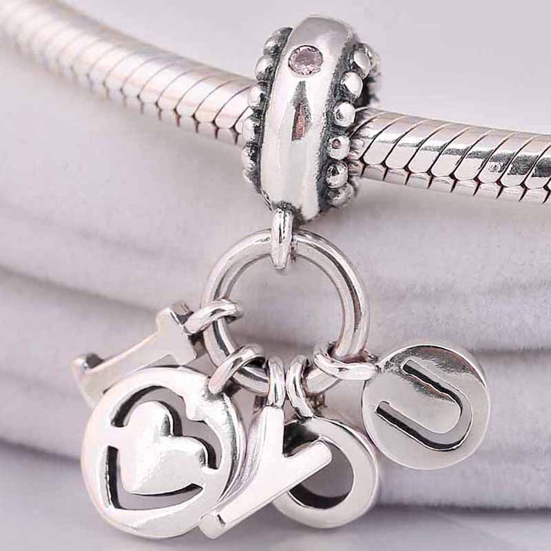 Original Spell Out Your Love For The World I Love You Pendant Beads Fit 925 Sterling Silver Charm Bracelet Diy Jewelry(China)