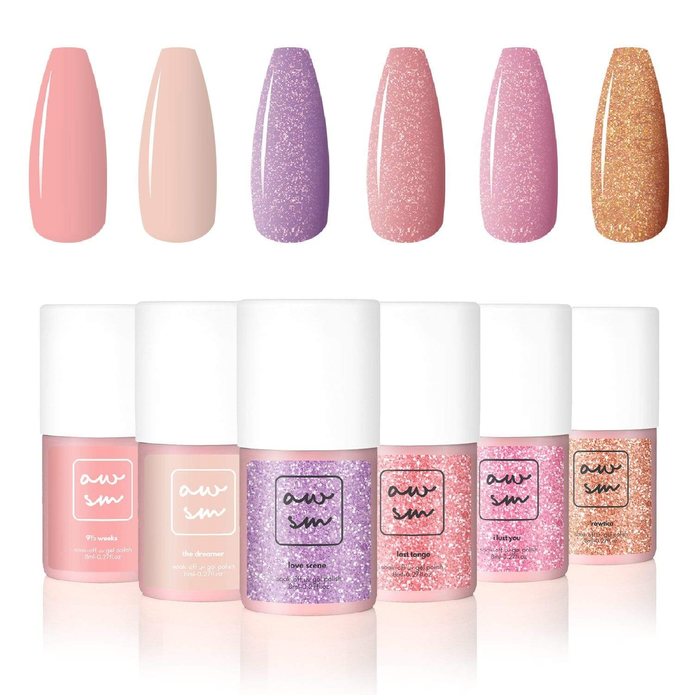 Set di smalti per Gel 6 colori nude & In Love Kit di smalti per unghie AwsmColor