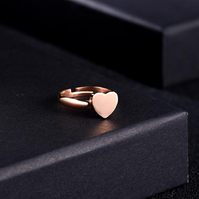A-Z Letter 3 Colors Stainless Steel Adjustable Opening Ring Initials Name Alphabet Love Heart Rings Female Party Trendy Jewelry