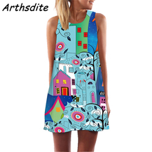 Arthsdite Summer Dress Women New 2019 Fashion Floral Print Cute Party Sleeveless O neck Casual Chiffon Dresses Vestidos