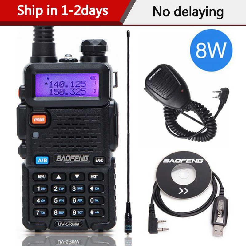 Walkie Talkie bidireccional de alta potencia Baofeng UV-5R 8 W 8 vatios CB Ham Radio portátil 10km de largo alcance Pofung UV5R para caza