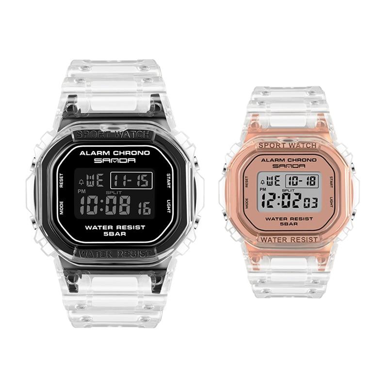 Digital Couple Watch Creative Transparent Wristwatch Women Lady Lovers Gift Fashion Outdoor Sport Date Waterproof Clock