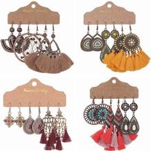 3pair/set Bohemia Vintage Earring For Women Ethnic Style Handmade Thread Tassel Earrings Sets Boho Jewelry