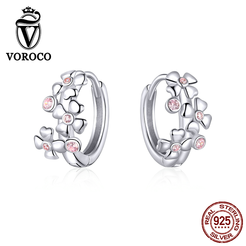 VOROCO 925 Silver Simple Hoop Earring With Blue AAA CZ And High Polish For Girl