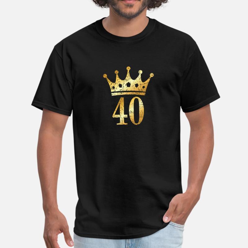 Custom 40th Birthday Crown Number 40 T-Shirt 100% Cotton Round Neck Novelty Men's Tee Shirt Short-Sleeve Female Top Tee