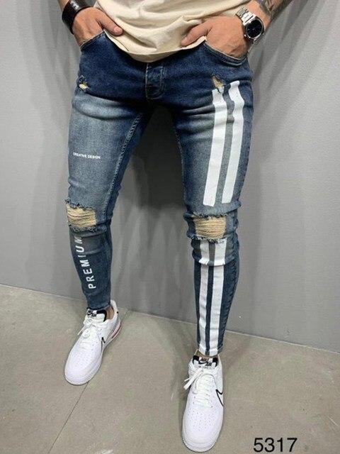 Jeans Men Skinny Striped Zipper Denim Vintage Hip Hop  4
