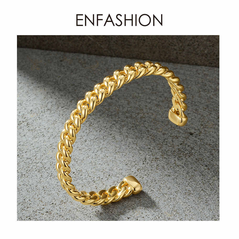 ENFASHION Punk Link Chain Cuff Bracelets Bangles For Women Accessories Gold Color Bracelet Bangle Fashion Jewelry Gifts B192018