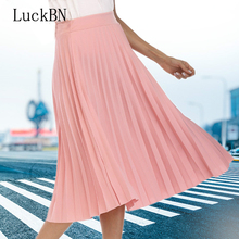 Women Skirts High Quality Spring Autumn Elegant Waist Pleated Skirt Hot Fashion Female Kawaii Faldas