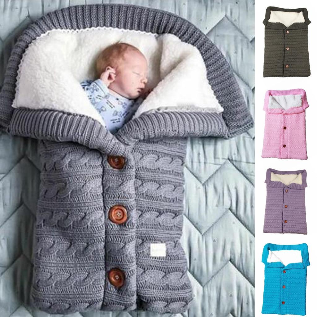 Newborn Infant Baby Blanket Knit Crochet Winter Warm Swaddle Wrap Sleeping Bag Baby Sleeping Bag Footmuff For Stroller Spiworek