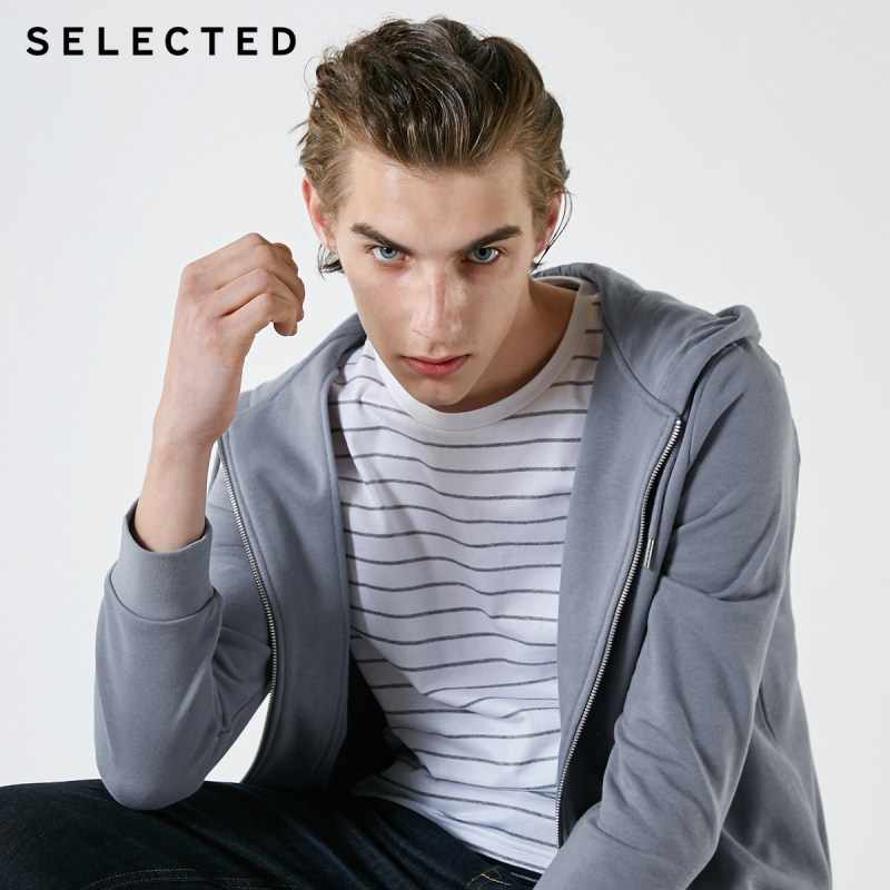 SELECTED 남성 코튼 스웨터 후드 새 옷 자수 풀오버 후드 S | 41914D501
