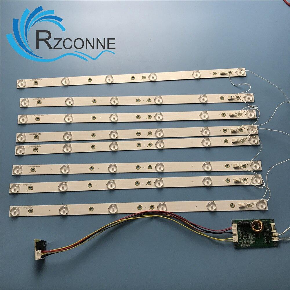8 Pcs 453mm LED Backlight 6 Lamps Strip Kit Board W/ Optical Lens Fliter For  40 42 43 46 Inch  LCD LED TV 12V Input Update CCFL