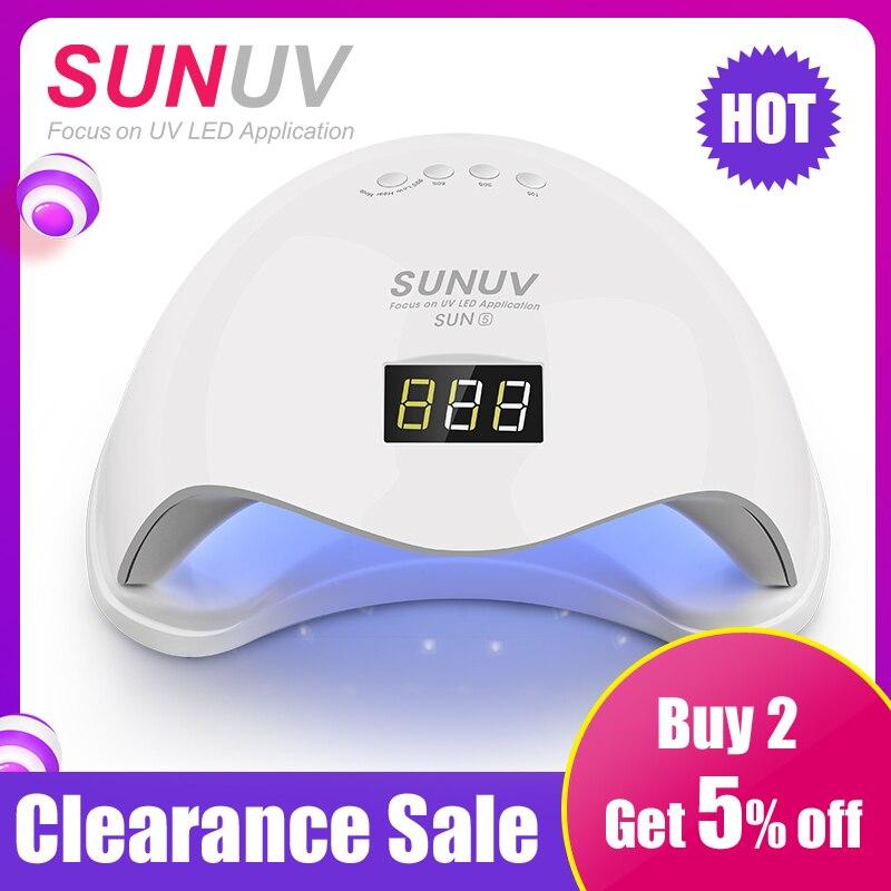SUN5 UV Lamp 48W SUNUV SUN9c 24W Nail Dryer Button Timer Curing Hard Gel Polish Best for Personal Home Manicure