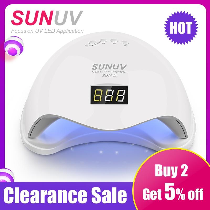 Güzellik ve Sağlık'ten Tırnak Kurutucuları'de SUN5 UV lamba 48W SUNUV SUN9c 24W tırnak kurutma makinesi düğmesi zamanlayıcı kür sert jel lehçe en iyi kişisel ev manikür
