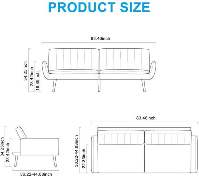 Sofa Futon Bed, Convertible Sleeper Couch  6