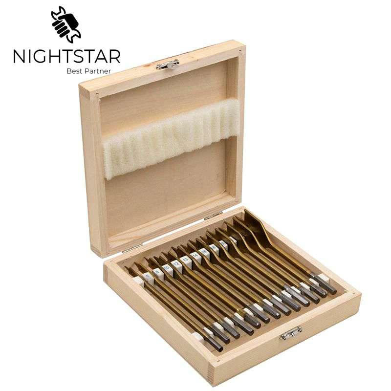 13pcs Flat Spade Drill Bits Set Titanium Coating Wood Boring Bit 1/4