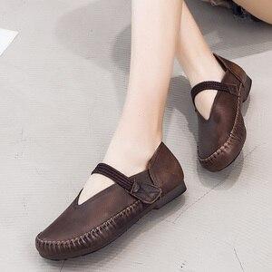 Image 2 - Gktinoo Lente Dames Echt Lederen Handgemaakte Retro Schoenen Vrouwen Klittenband Platte Schoenen Vrouwen 2020 Herfst Zachte Loafers Flats