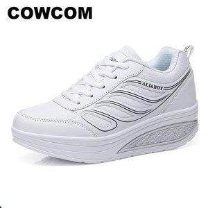 Image 1 - كاوكوم بالجملة أسود المرأة أحذية رياضية المرأة وسادة هوائية سميكة القاع الاحذية حذاء كاجوال أحذية منصة CYL