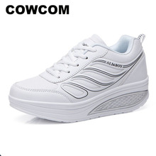 COWCOM Großhandel Schwarz frauen Turnschuhe frauen Air Kissen Dicken Boden Laufschuhe Casual Schuhe Schuhe Plattform Schuhe CYL