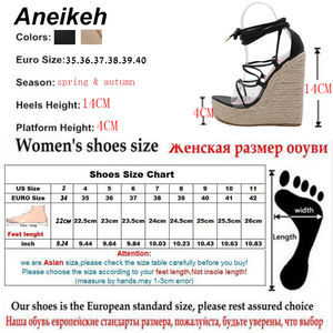 Image 5 - Aneikeh Leisure PVC Sandal Women Transparent Sandals Lace Up Wedges High Heels Thin Belt Solid Black Gold Party Daily Size 35 42