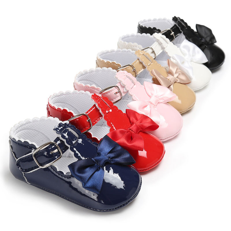 Kids Baby Girl Shoes Bow Soft Crib Shoes Anti-slip Soft Sole Party Christmas Shoes