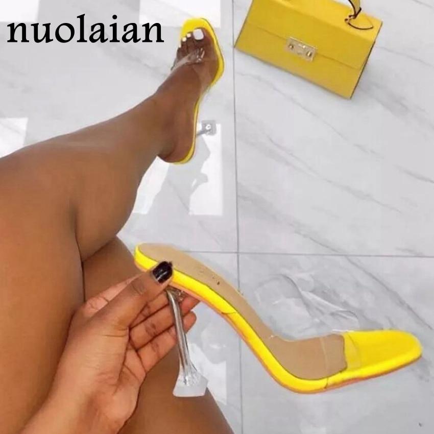 Women's Crystal Heels Sandals Sexy Summer High Heel Shoes Woman PVC Pumps Sandal Shoe Transparent Slippers Ladies Pump Shoes