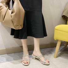 2020 summer new wild sandals and slippers women wear rhinestones with thick heels Roman sandals Z993 цена 2017
