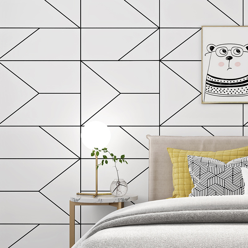 Nordic Black And White Fashion Lines Simple Wallpaper Stores Nail Salons Hotel Engineering Simple Non-woven Wallpaper