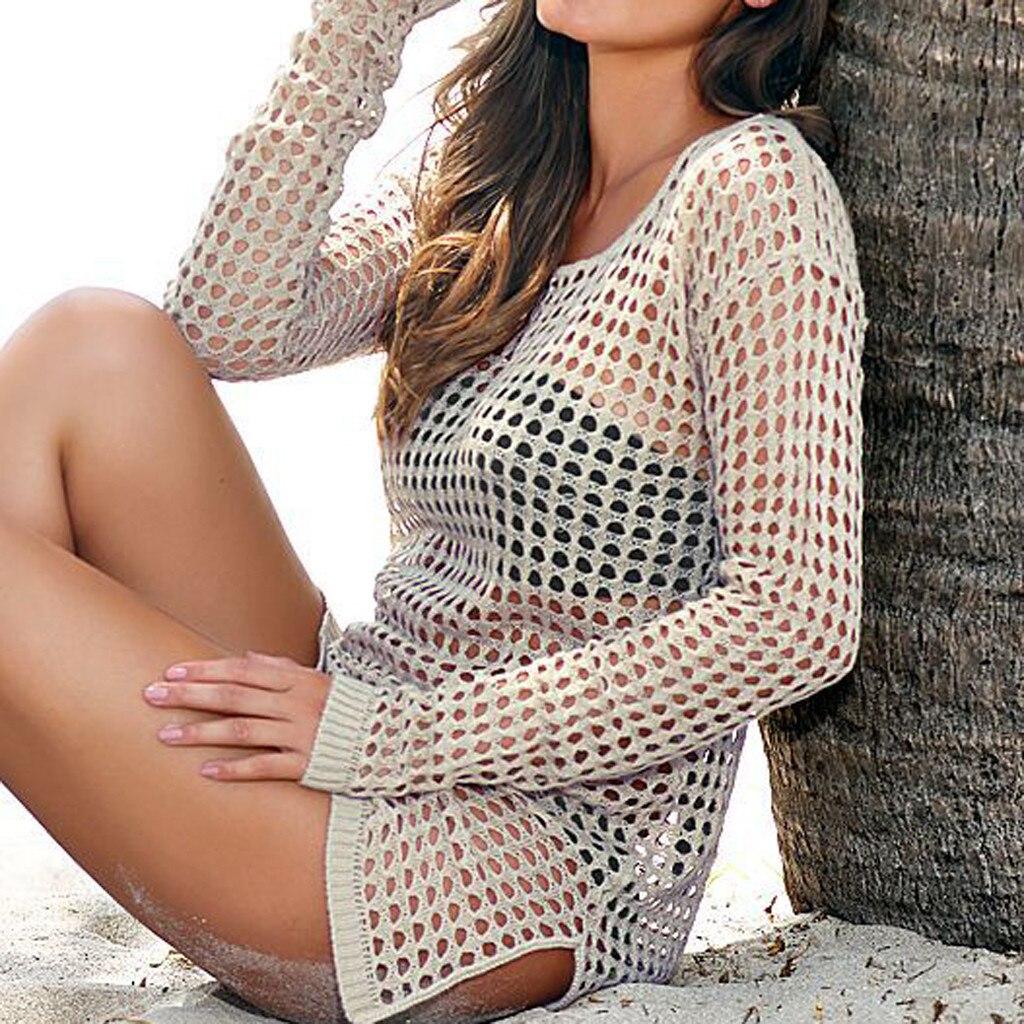 2020 New Beach Cover Up Bikini Crochet Mesh Blouse Beachwear Summer Swimsuit Cover Up Sexy See-through Beach Dress White Black
