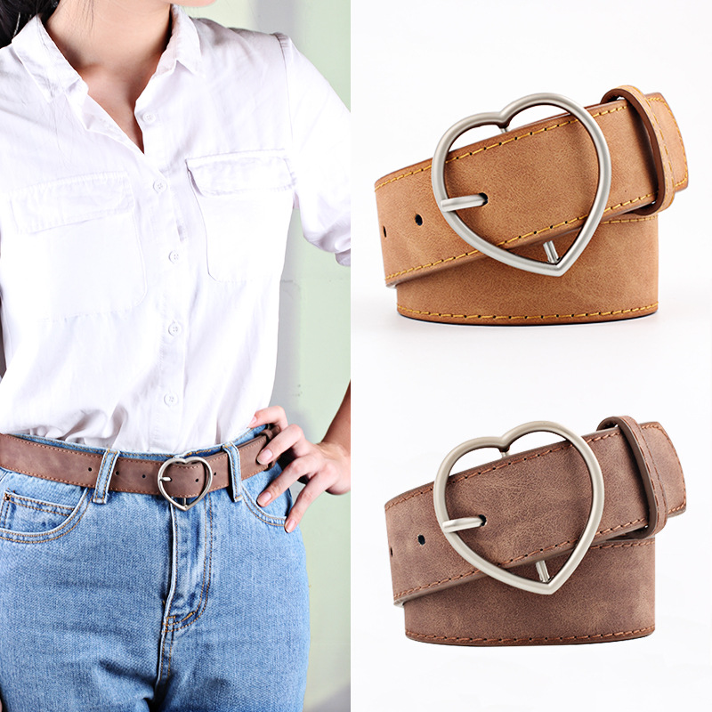 New Versatile Women's Imitation Leather Belt Alloy Peach Heart Japanese Buckle Women's Frosted Leather Belt Student Belt