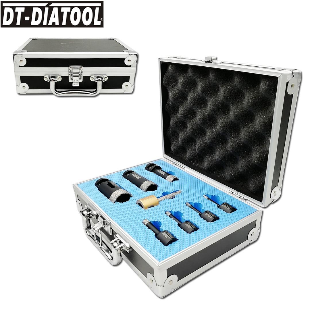 DT-DIATOOL 1kit/8pcs Diamond Drill Core Bits Sets M14 Connection Hole Saw Mixed Size Plus Finger Bits For Tile Porcelain Ceramic